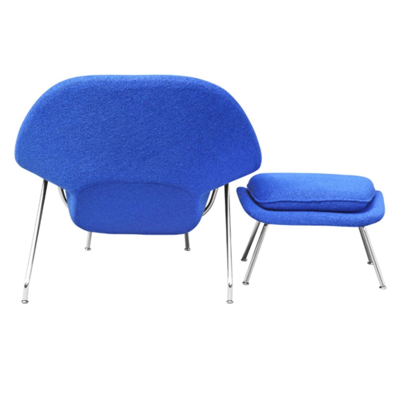 Manhattan Home Design Womb Chair & Ottoman in Blue-2