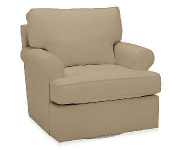 Pottery Barn Buchanan Roll Arm Upholstered Swivel Chair