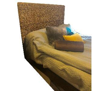 West Elm Wood Platform Bed Frame w/ Weave Headboard