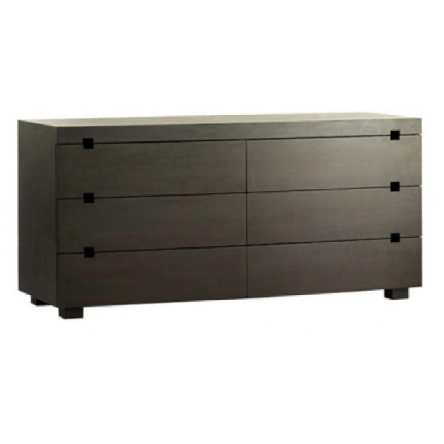 West Elm Chocolate Square Cutout 6 Drawer Dresser