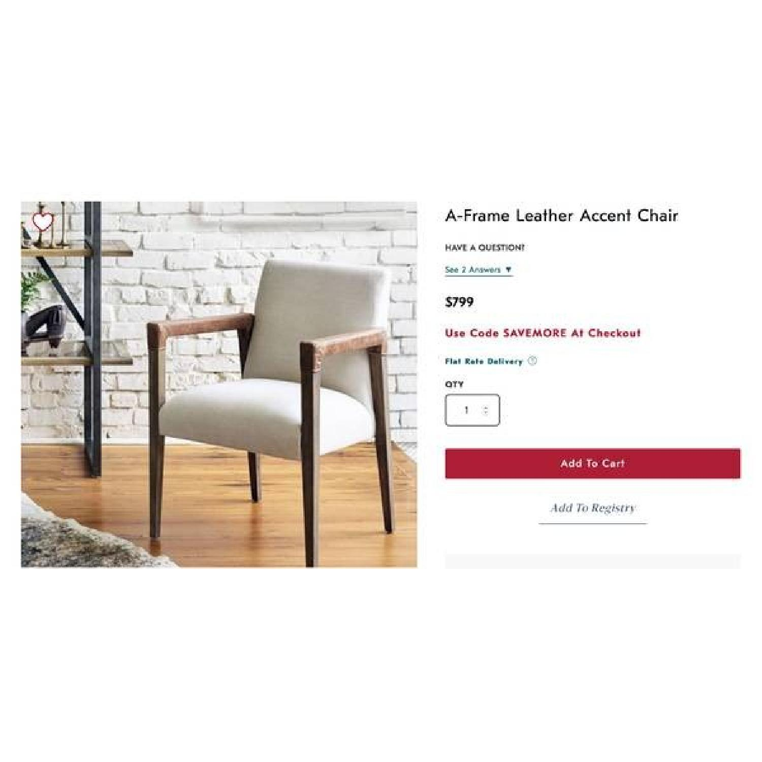 West Elm Wood & Fabric Chair w/ Leather Accent - image-1