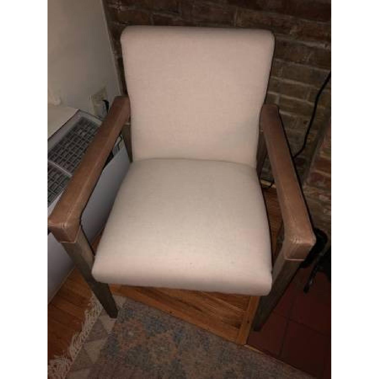West Elm Wood & Fabric Chair w/ Leather Accent - image-3