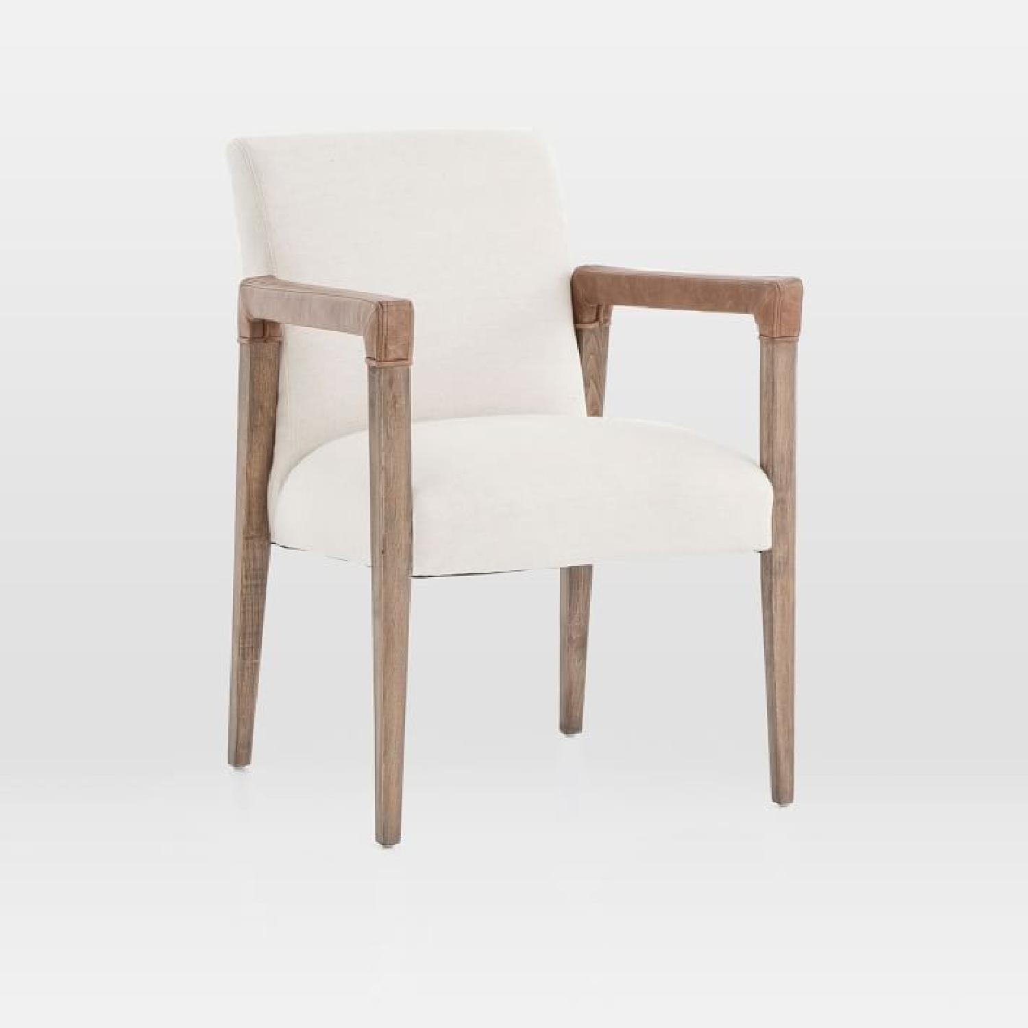 West Elm Wood & Fabric Chair w/ Leather Accent - image-0