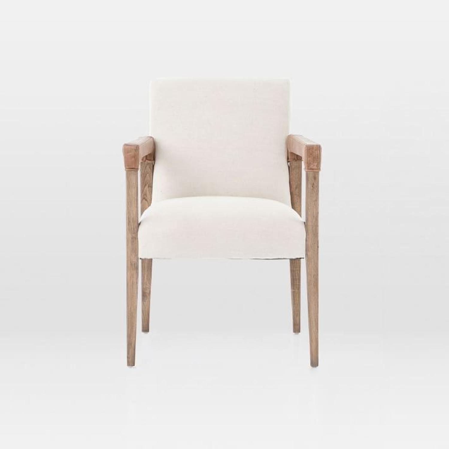 West Elm Wood & Fabric Chair w/ Leather Accent - image-5