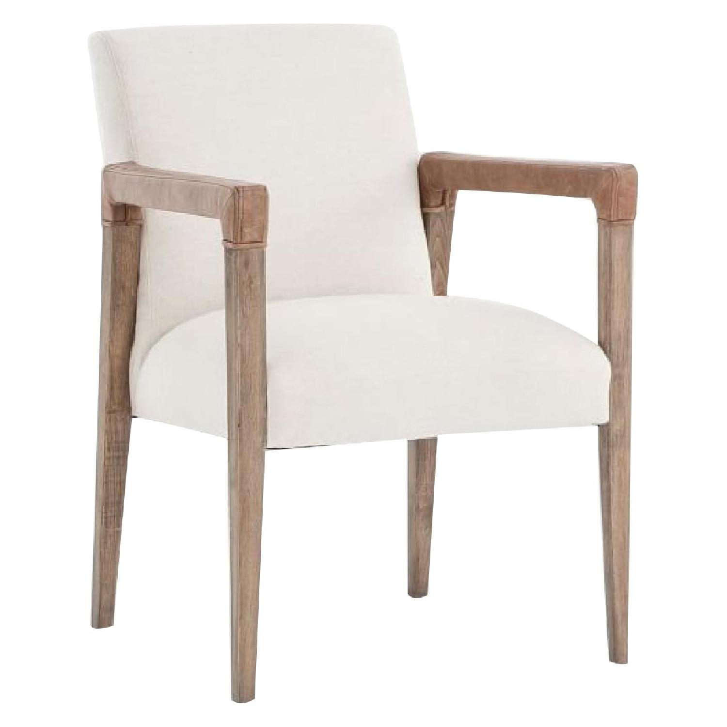 West Elm Wood & Fabric Chair w/ Leather Accent