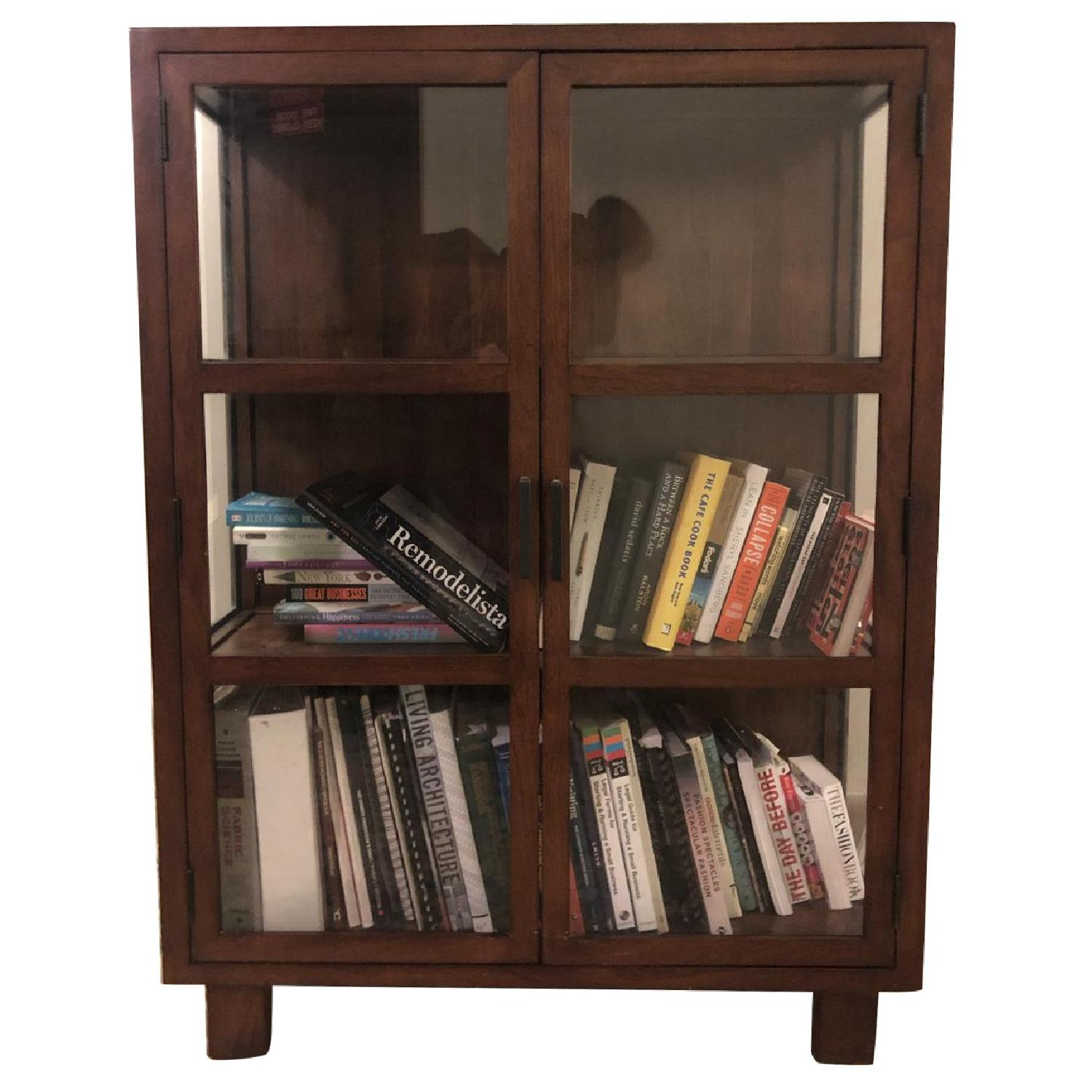 Crate & Barrel Wood & Glass Cabinet