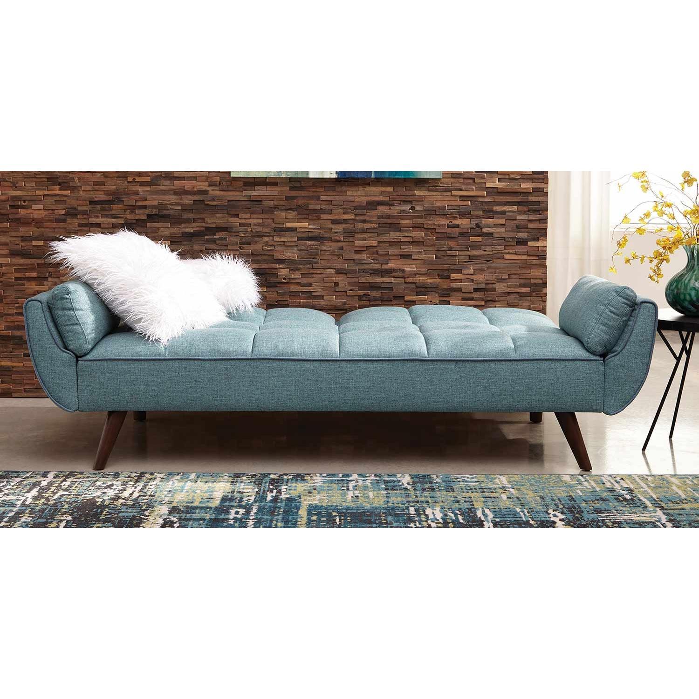 Mid Century Style Sofa Bed In Turquoise Fabric Aptdeco