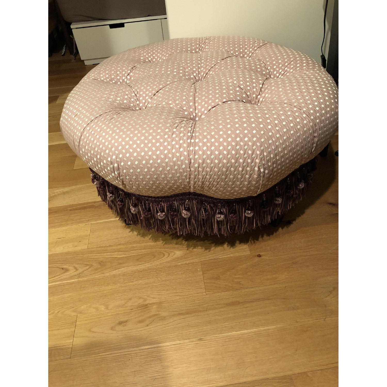 Custom Tufted Round Ottoman w/ Tassel Trim - image-3