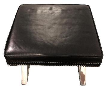 Lexington Lola Black Leather Studded Ottomans