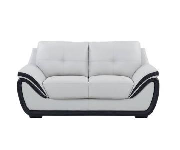 Grey/Black Bonded Leather Loveseat