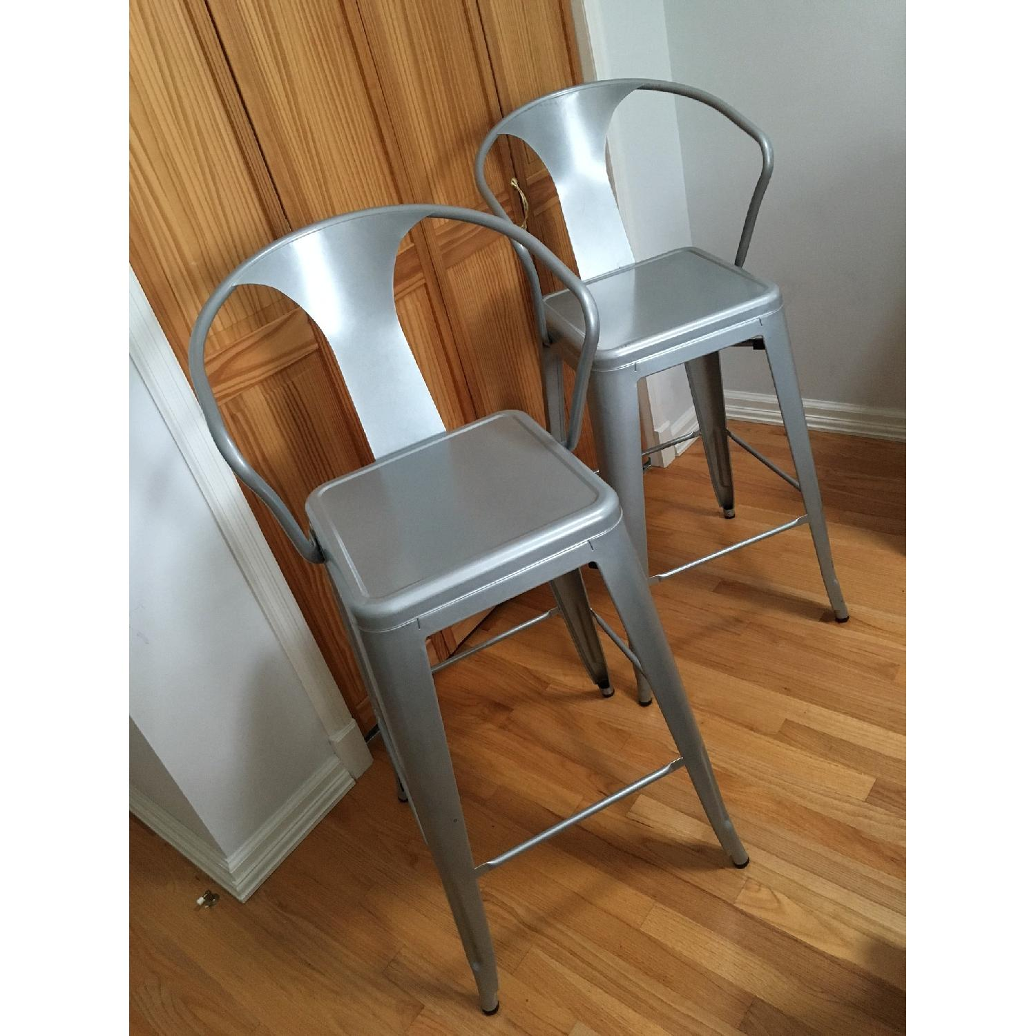 Silver Metal Bar Stools w/ Backrest-0