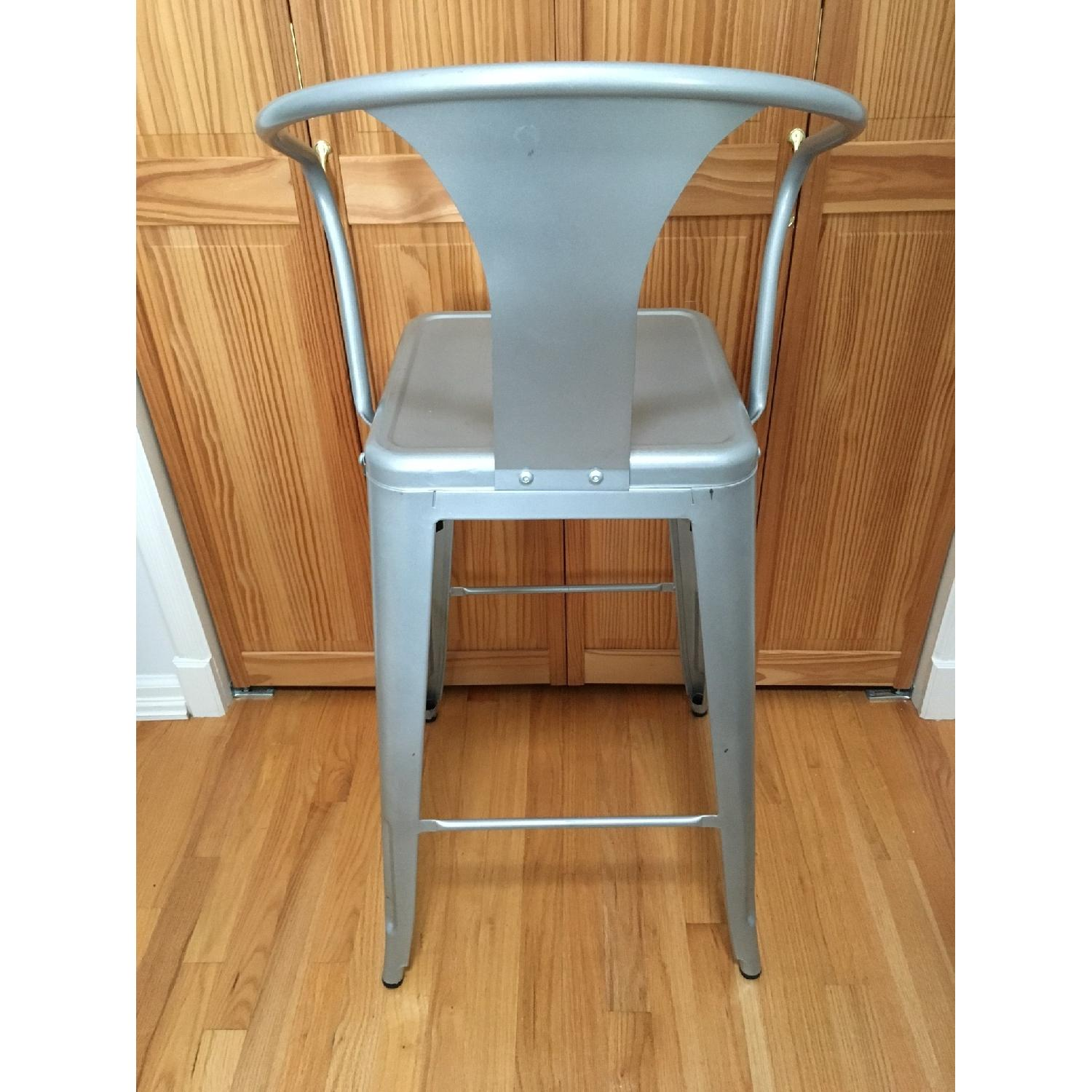 Silver Metal Bar Stools w/ Backrest-2