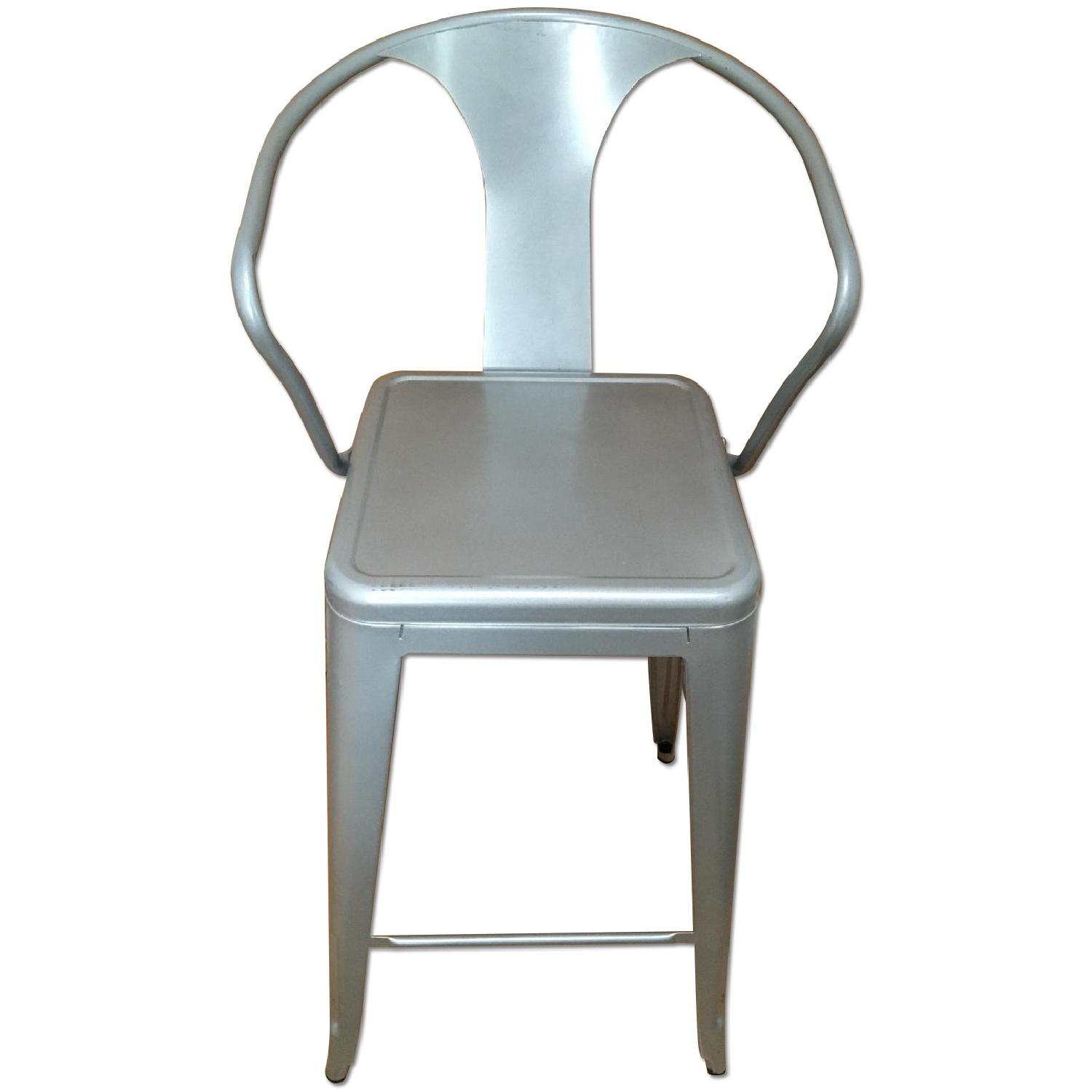 Silver Metal Bar Stools w/ Backrest