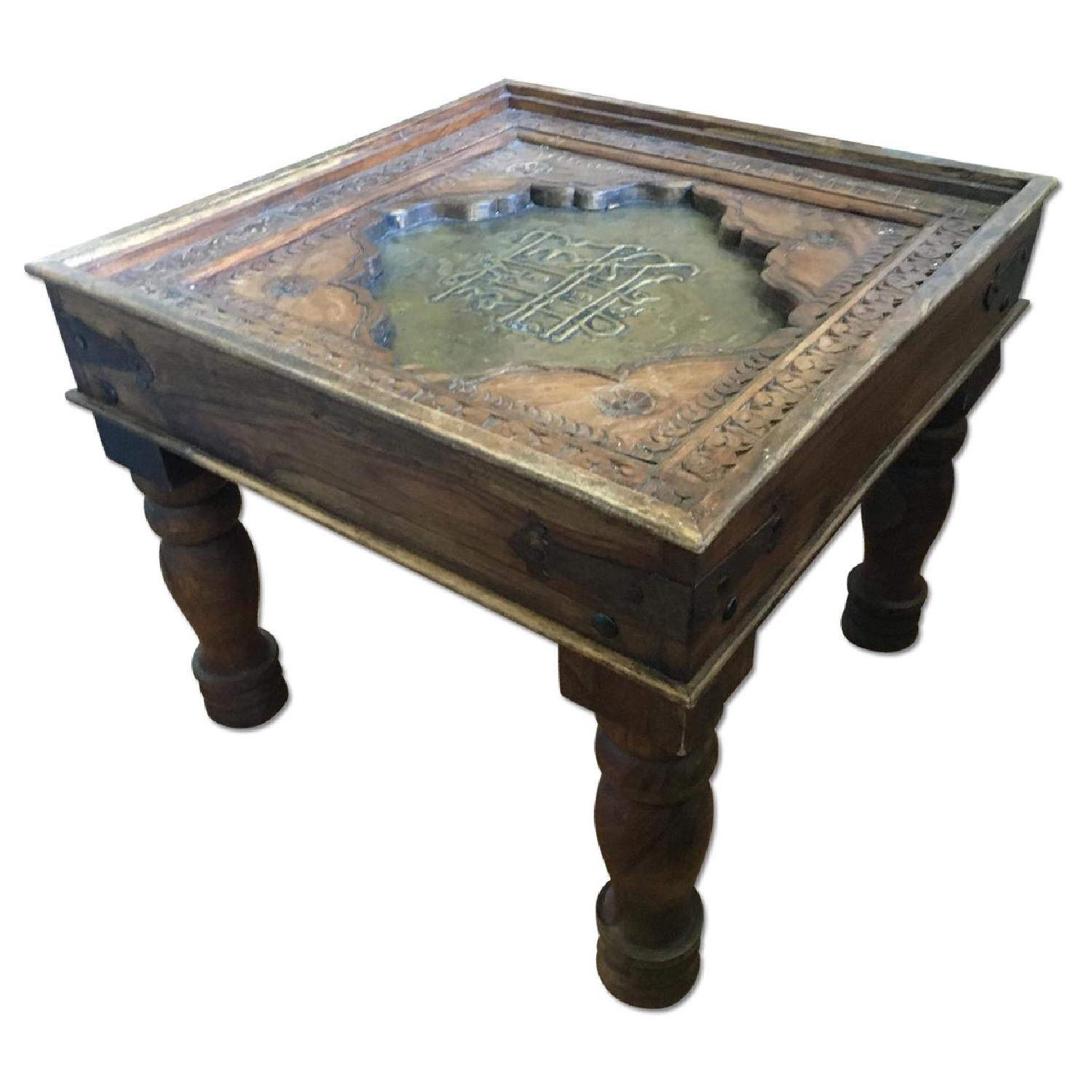 Wooden Brass Decorative Unique Coffee Or Side Table Aptdeco