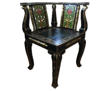 Indian Hand Painted Wooden Accent Chair