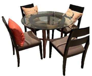 Crate & Barrel Halo Glass Dining Table w/ 4 Chairs
