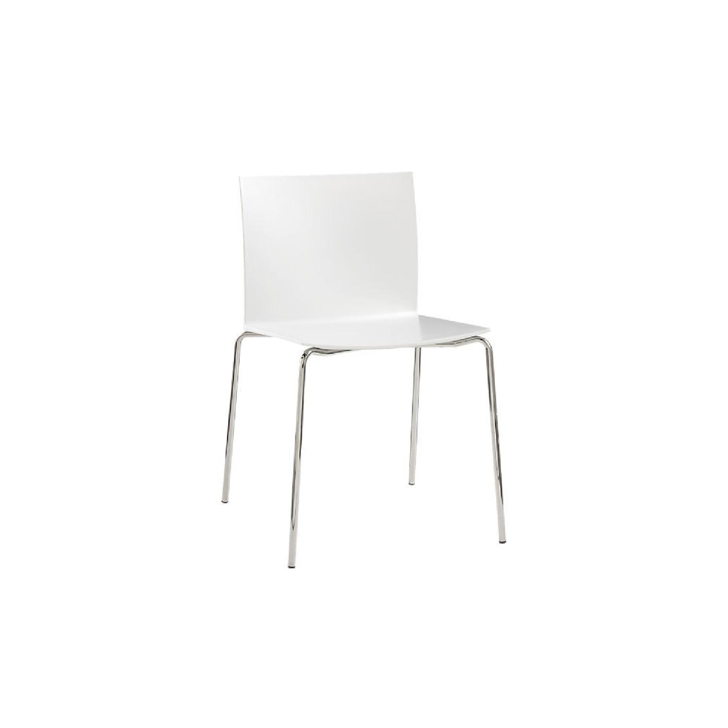 CB2 Slim White Chairs