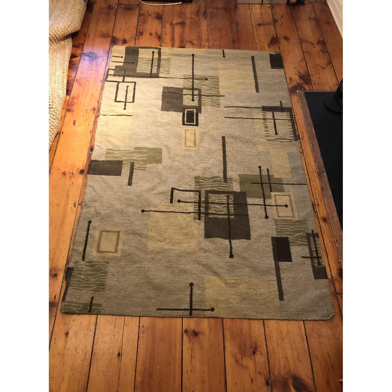 Crate & Barrel Vintage Wool Modern Patterned Rug-0