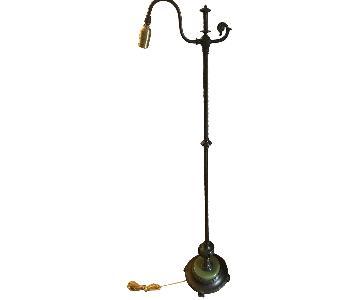 Antique Brass Floor Lamp w/ Green Malachite Base