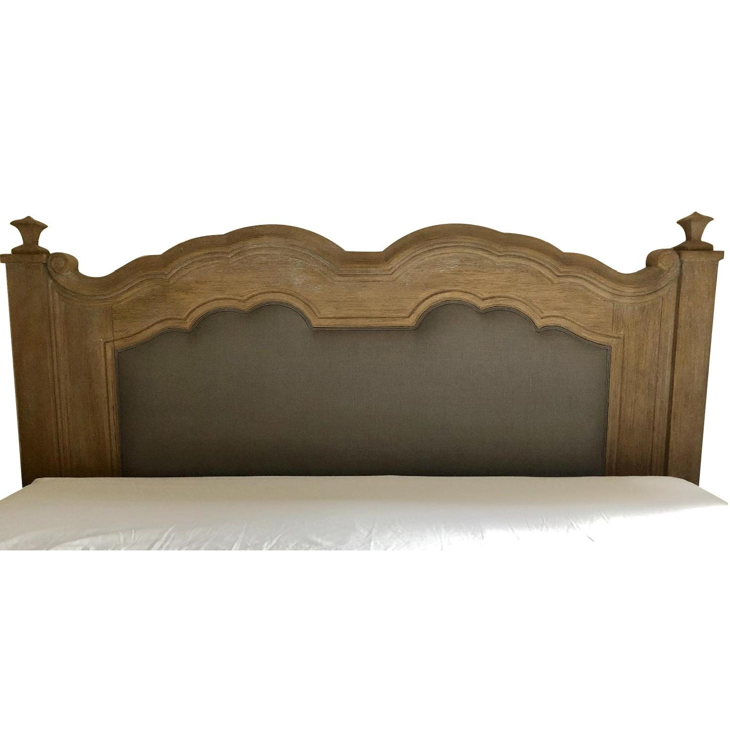 Anthropologie Distressed Wood & Gray Upholstered Headboard