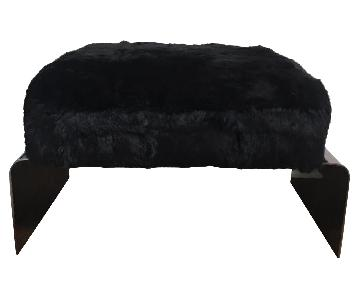 Modern Black Metal Lucite & Fur Ottomans