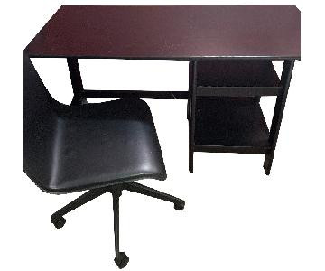 Office Desk + Matching Rolling Chair in Black
