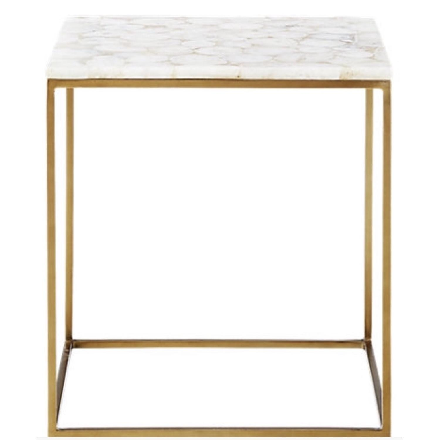 CB2 Iris White Agate Side Table-0