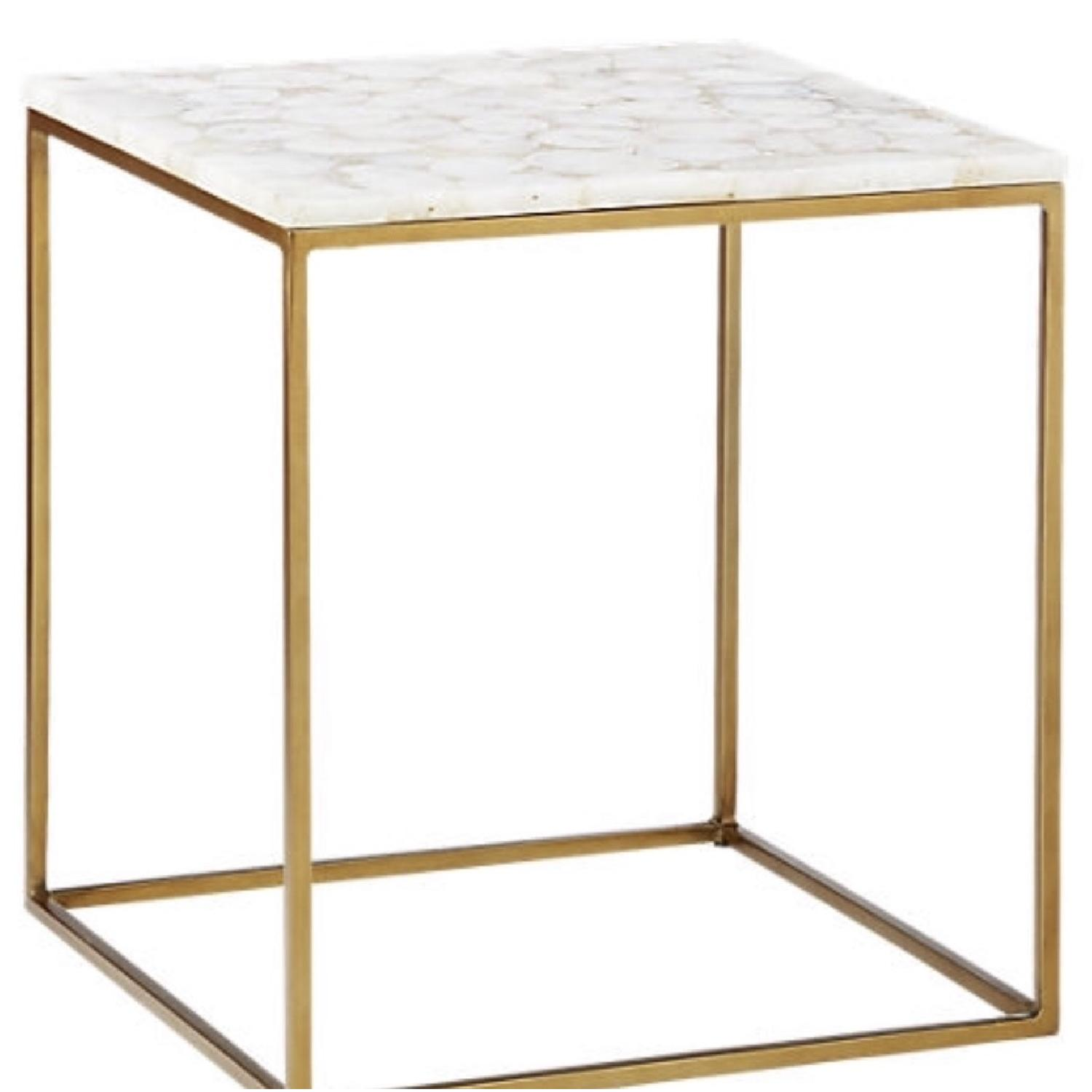 CB2 Iris White Agate Side Table