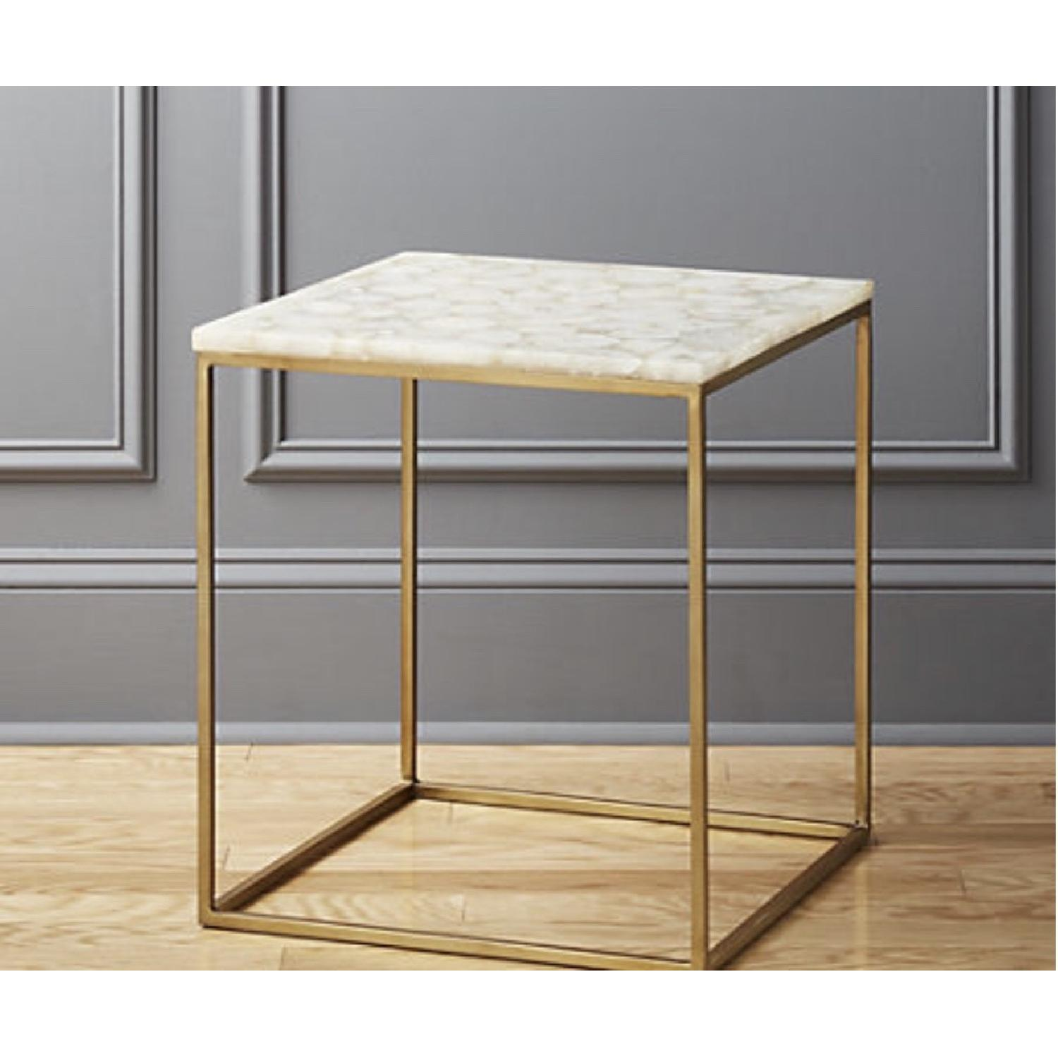 CB2 Iris White Agate Side Table-1