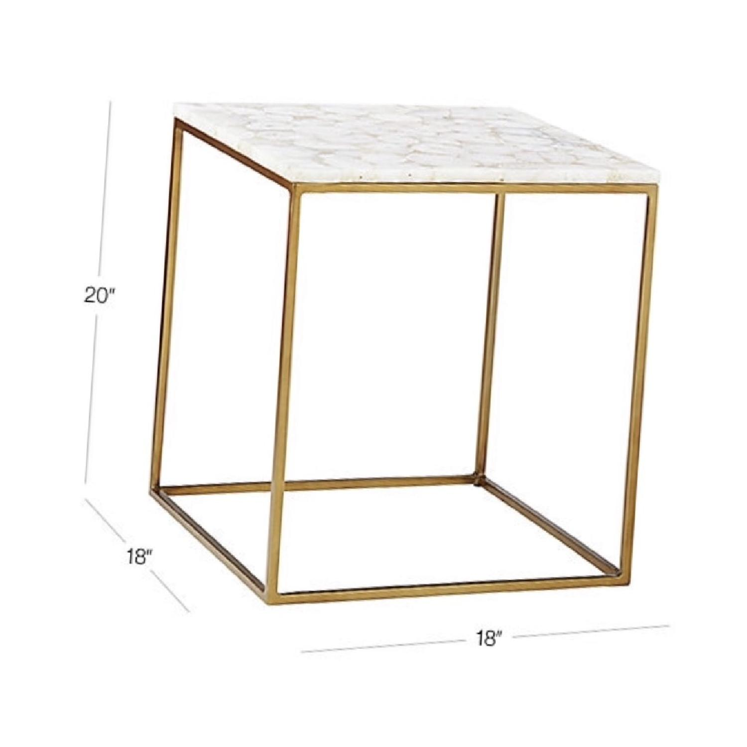 CB2 Iris White Agate Side Table-5
