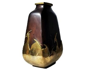 Mid 20th C Asian Art Deco Bronze Vase w/ Herons Overlay