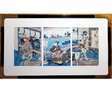 Utagawa Kunisada Triptych c.1847 Japanese Woodblock Print