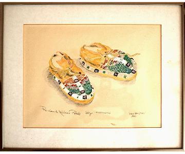 Diane Kaufman: Rosebud Yellow Robe Baby Moccasins Watercolor