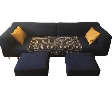 Cassina Met Piero Lissoni Sofa in Midnight Blue + 2 Ottomans
