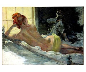 Armando Seguso 1950s: Evening Visitor Oil on Illustration