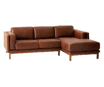 West Elm Dekalb Leather 2-Piece Chaise Sectional Sofa