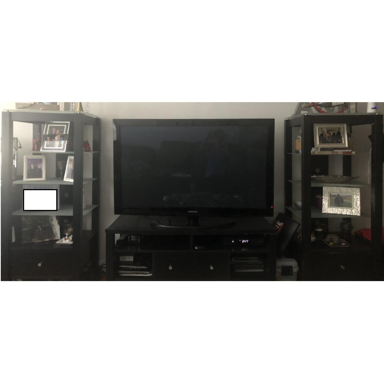 Target Wood TV Stand w/ 2 Glass Shelving Units