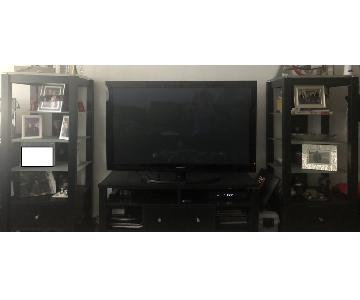 Target Wood TV Stand w/ 2 Glass Shelving Units