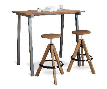 CB2 Vice High Rectangular Counter Table w/ 2 Swivel Stools