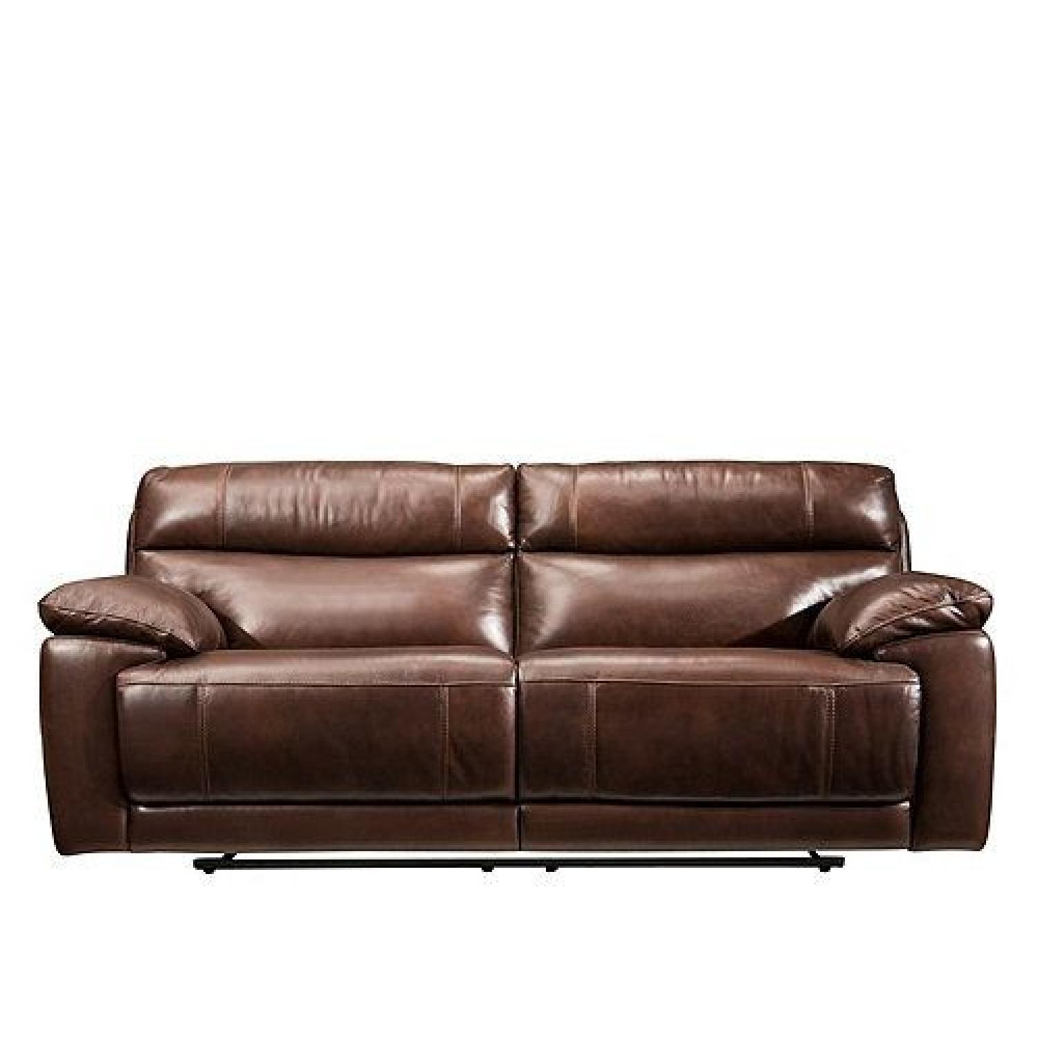 Raymour Flanigan Deacon Leather Power Reclining Sofa Aptdeco