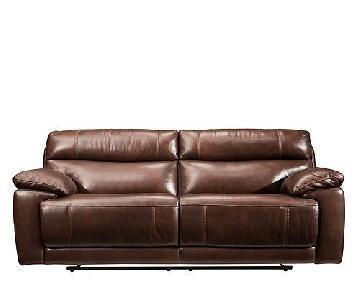 Raymour & Flanigan Deacon Leather Power-Reclining Sofa