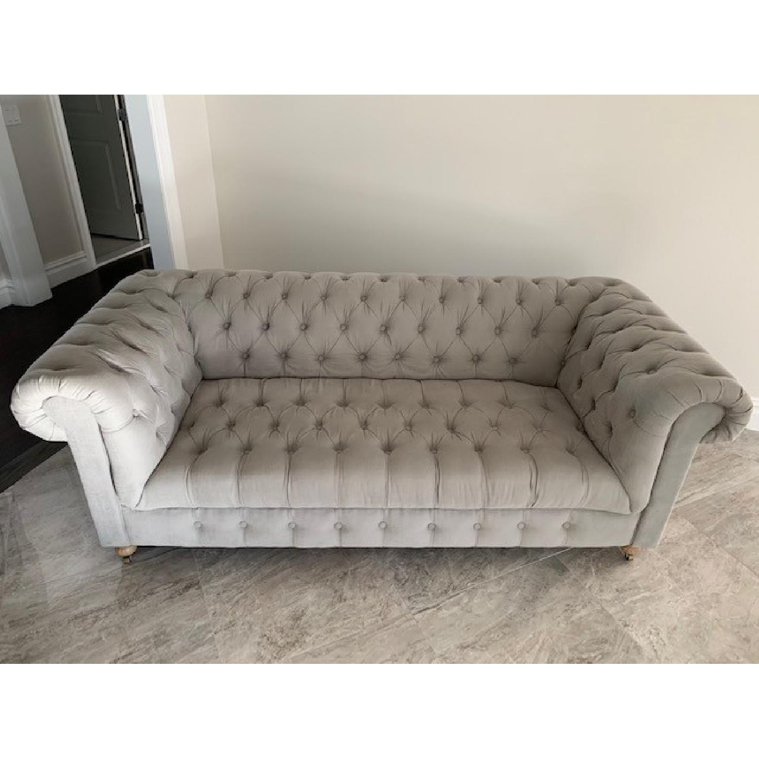 Restoration Hardware Cambridge Belgian Linen Fog Sofa-0
