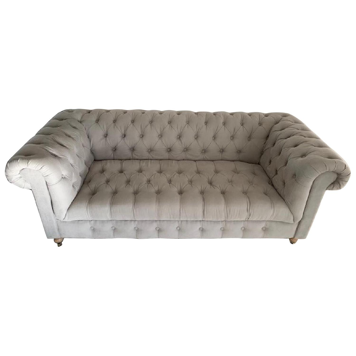 Restoration Hardware Cambridge Belgian Linen Fog Sofa