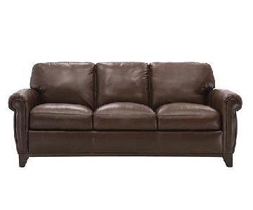 Raymour & Flanigan Jackson Brown Leather Sofa