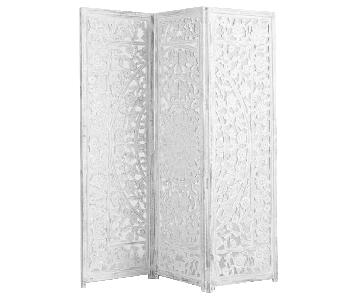 Zaria White Wood Carved 6 Panel Room Divider