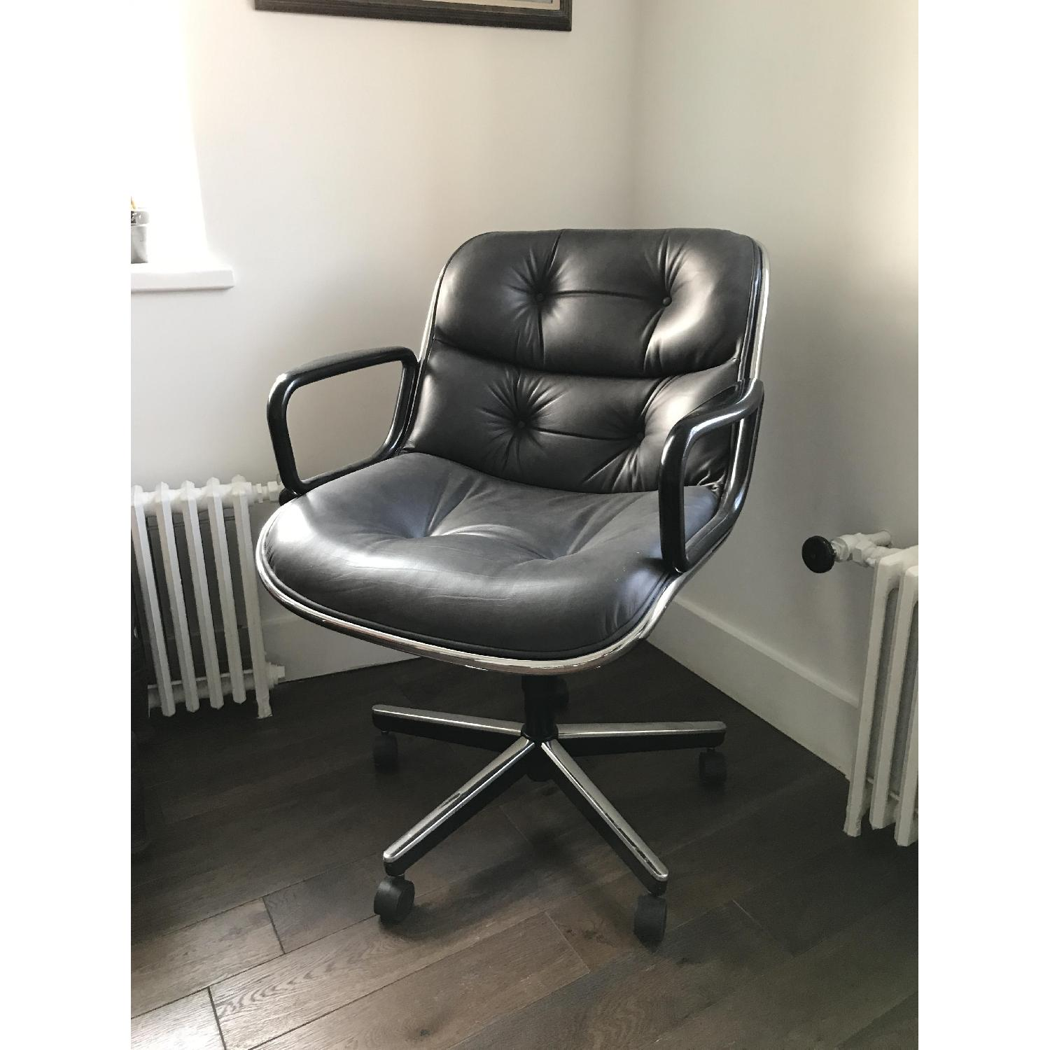 Knoll Pollock Dark Grey Leather Executive Chair-0