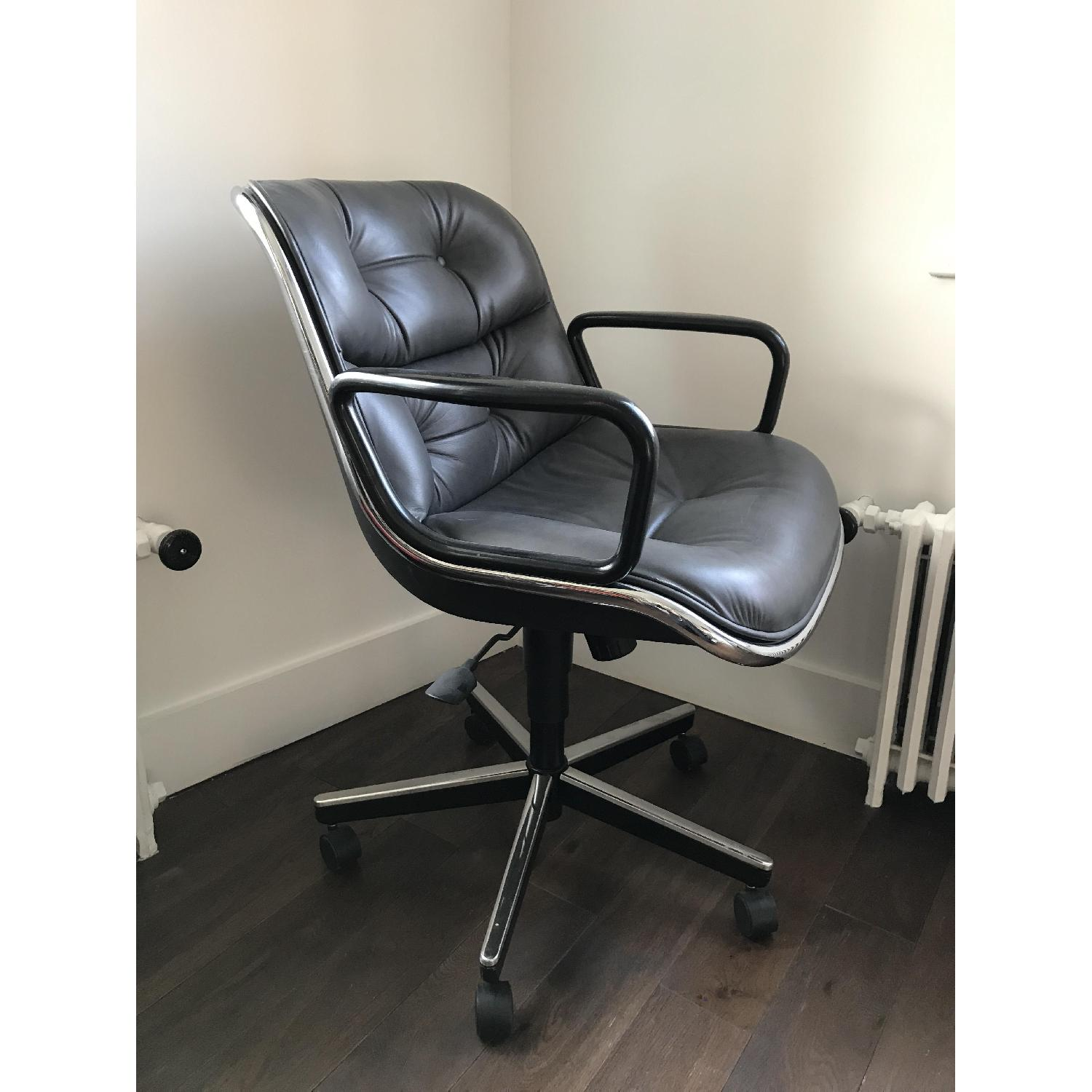 Knoll Pollock Dark Grey Leather Executive Chair-2