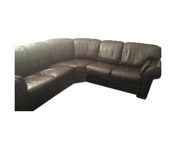 Raymour & Flanigan Italian Leather Sectional Sofa