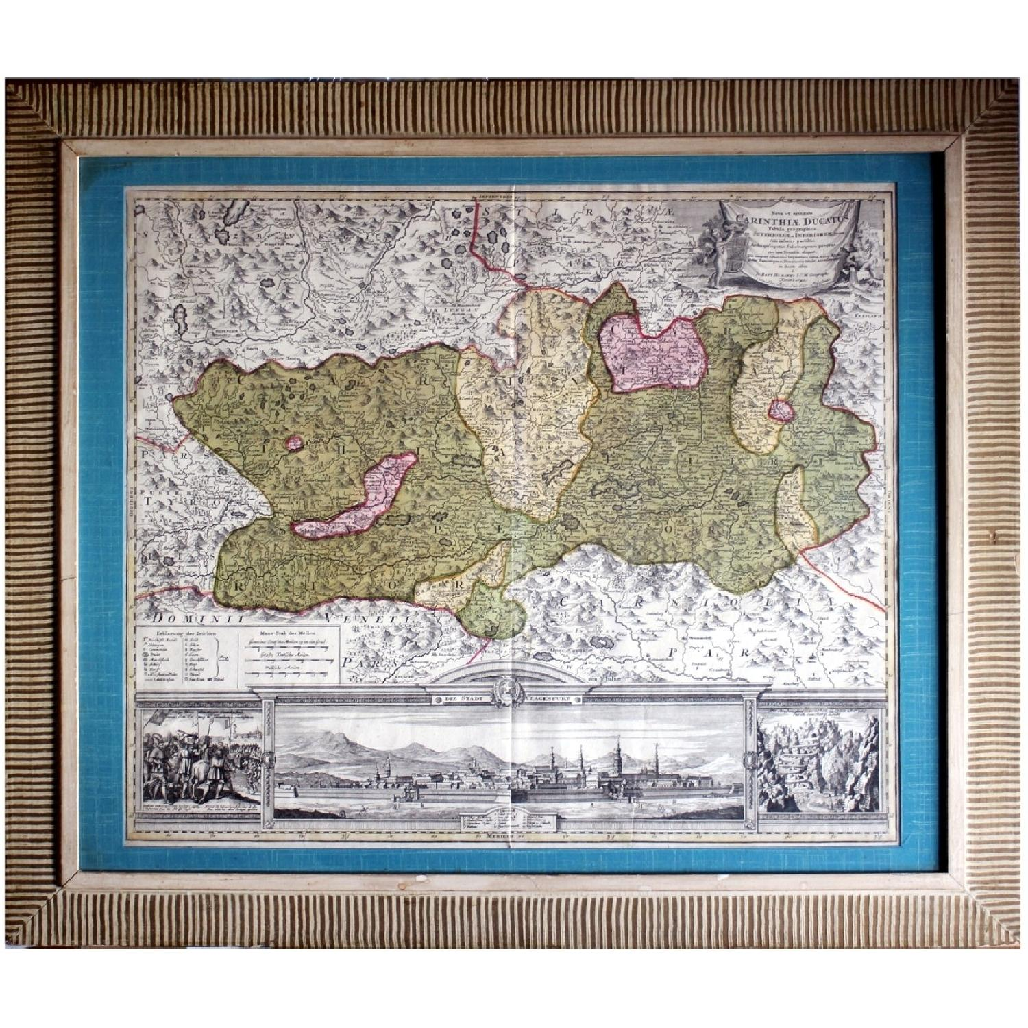 Antique Austrian Map 1720 Framed Original Engraving