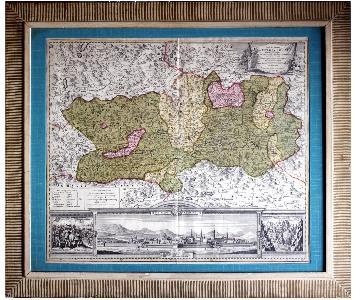 Antique Austrian Map 1720 Framed Original Engraving